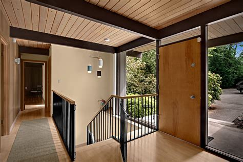 mid century stair with glass wall staircase contemporary