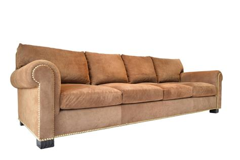 Suede Couches For Sale suede rolled arm sofa by ralph for sale at 1stdibs