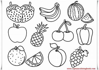 Fruits Drawing Fresh Draw Coloring Pages Children