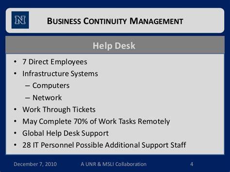 help desk business continuity plan