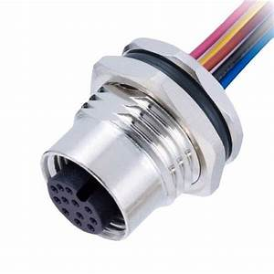 M12 12 Pin Female Connector Front Mount With Single Wire