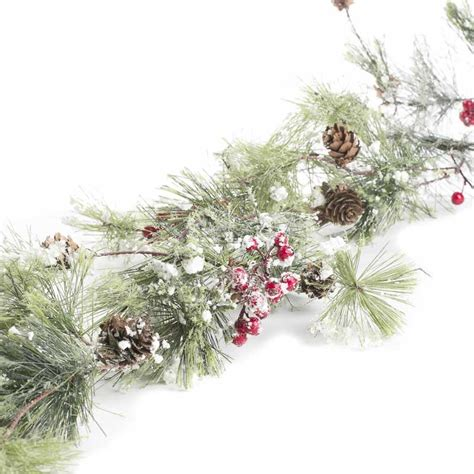 artificial frosted pine and berry garland garlands
