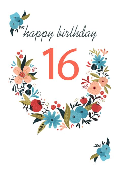 Floral 16 Birthday Card (Free) Greetings Island