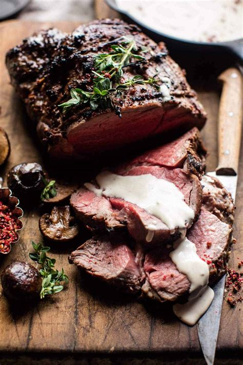 Place beef on rack set over large rimmed baking sheet. Roasted Beef Tenderloin with Mushrooms and White Wine Cream Sauce. - Half Baked Harvest
