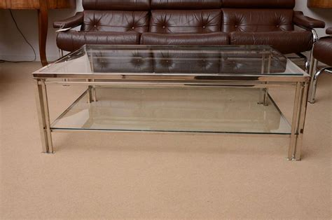 two tier glass coffee table 1960 39 s french two tier chrome and glass coffee table at