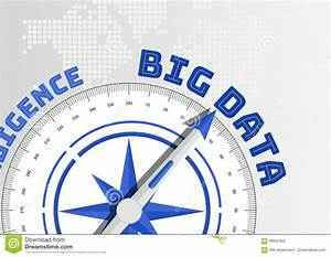 Big Data Concept With Compass Pointing Towards Text Stock