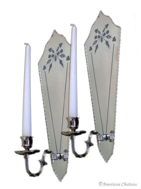 Candle Wall Sconces With Mirror by Pair Venetian Etched Mirror Wall Sconce Candle Holders