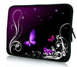 laptoptasche design 10 inch stunning butterfly purple on black and white sided print design laptop netbook