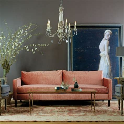 salmon gray blue pretty color combo eclectic living