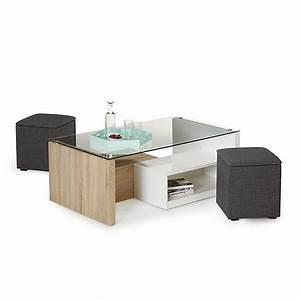Table Basse Pouf Intégré : table basse avec rangement et pouf le bois chez vous ~ Dallasstarsshop.com Idées de Décoration
