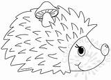 Coloring Mushroom Hedgehog Animal Coloringpage Eu sketch template