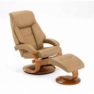 Sand Top Grain Leather Swivel Recliner With Ottoman 58 LO3