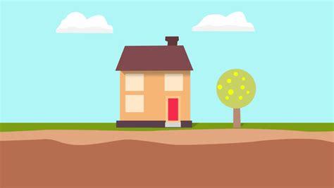 Cartoon 2d Animation Of A House On Sunny And Rainy Day