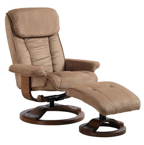 mocha brown microfiber swivel recliner with ottoman mac