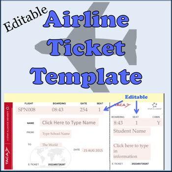 airline plane  template  spanishplans tpt