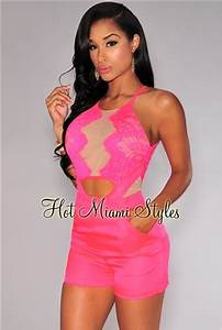Neon Pink Lace Nude Mesh Accent Romper