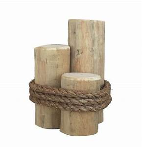 "3 Post Wooden Piling Pier Post 12"" Tall"