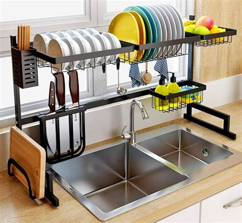 sink dish drying rack  storage area
