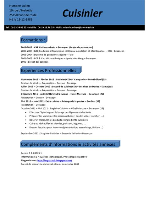 cv pour commis de cuisine cv julien humbert cuisinier pdf par stagiaire9 fichier pdf