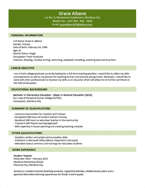 Resumè Format by Sle Resume Format For Fresh Graduates Two Page Format