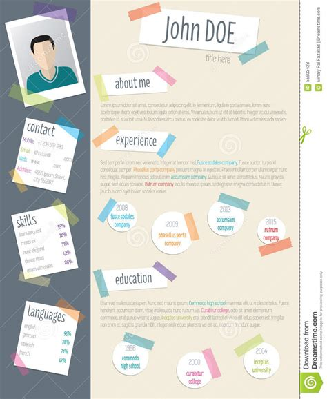 cool resume cv with post its and color stock vector