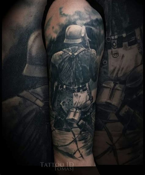 siege tatouage black and grey war ww2