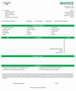 Computer repair invoice template for Computer repair invoice template
