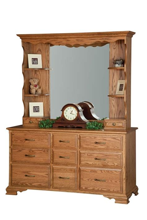 dresser with hutch amish 9 drawer dresser with optional hutch top mirror from