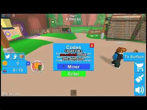 kody  mining simulator roblox youtube