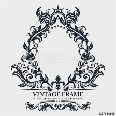 Elegant Border Monogram Baroque Frame Retro Emblem