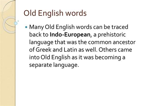 origin  english words lecture
