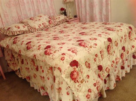 shabby chic navy bedding new waverly norfolk rose shabby chic reversible stripe 60x86 twin comforter nwot ebay