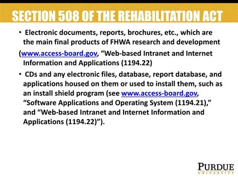 section 508 of the rehabilitation act ppt summary of fhwa research report communication