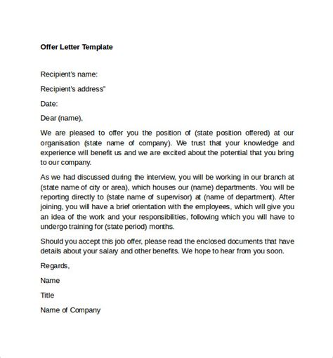 sample offer letter templates  examples