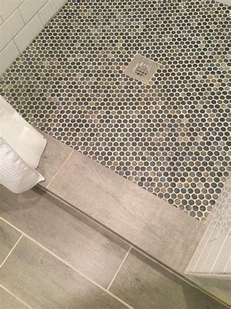 blue  gray penny tile  shower floor penny tile