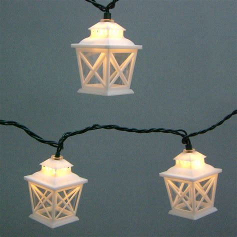 garden treasures white mini bulb crisscross lantern patio
