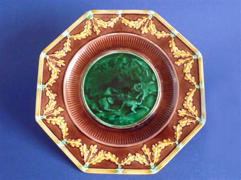 wedgwood majolica email ombrant lions octagonal plate