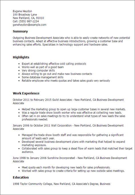 business development associate resume template