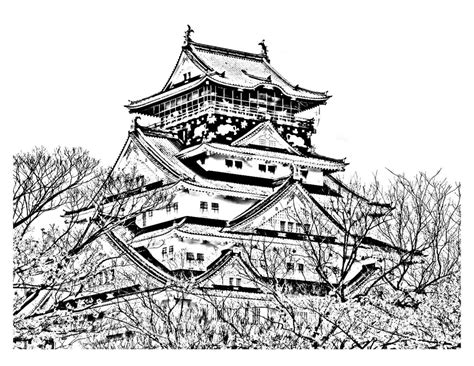 coloring page japanese temple  printable