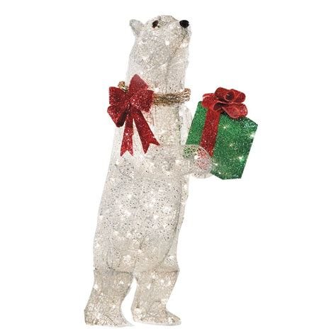 lowes lighted christmas decorations holiday specs 42 in lighted mesh polar bear outdoor