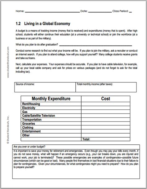 Monthly Budget Worksheet For Economics  Student Handouts
