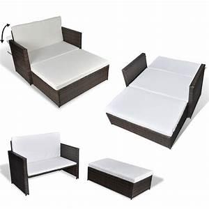 details zu 3 in 1 rattan sofabett sofa lounge With französischer balkon mit garten couch rattan