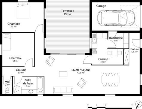 plan de maison 2 chambres plan maison en u avec 2 chambres ooreka