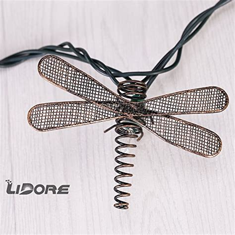 dragonfly outdoor string lights lidore set of 10 metal dragonfly patio string light ideal