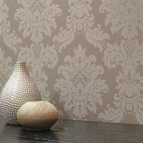 arthouse messina damask wallpaper taupe