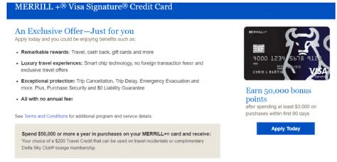 Check spelling or type a new query. Merrill+ Visa Signature Credit Card 50,000 Points Offer + Annual Fee