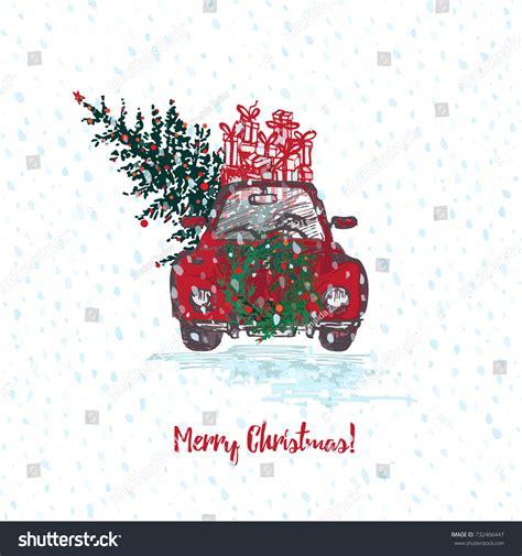 festive christmas card red car fir stock vector