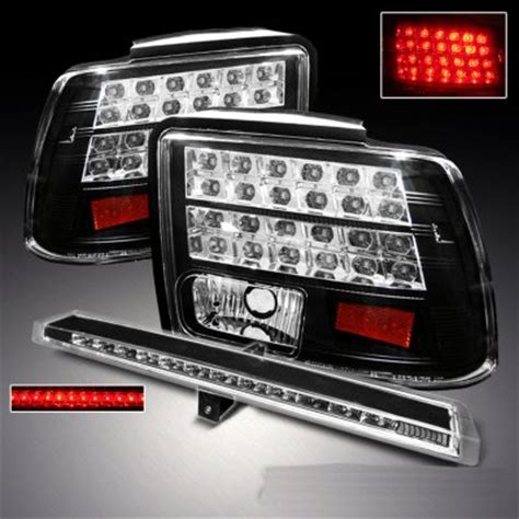 2004 mustang tail lights ford mustang 1999 2004 black led tail lights and led third