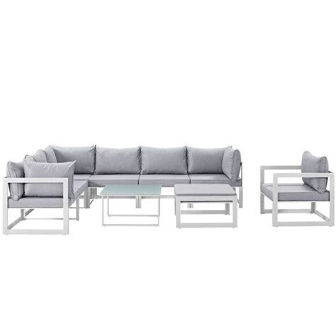 fortuna 9 outdoor patio sectional sofa set in white
