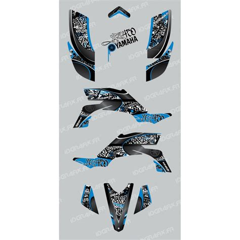 kit deco 450 yfz kit decoration tag blue idgrafix yamaha yfz 450 idgrafix